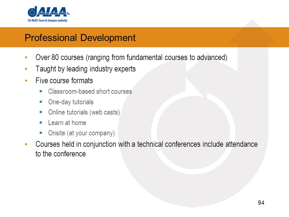 94 Professional Development Over 80 courses (ranging from fundamental courses to advanced) Taught by leading industry experts Five course formats Clas