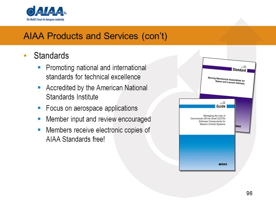 96 AIAA Products and Services (cont) Standards Promoting national and international standards for technical excellence Accredited by the American Nati