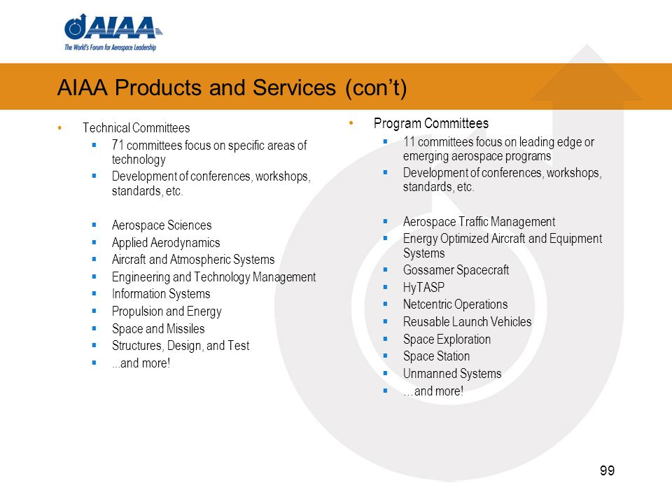 99 AIAA Products and Services (cont) Technical Committees 71 committees focus on specific areas of technology Development of conferences, workshops, s