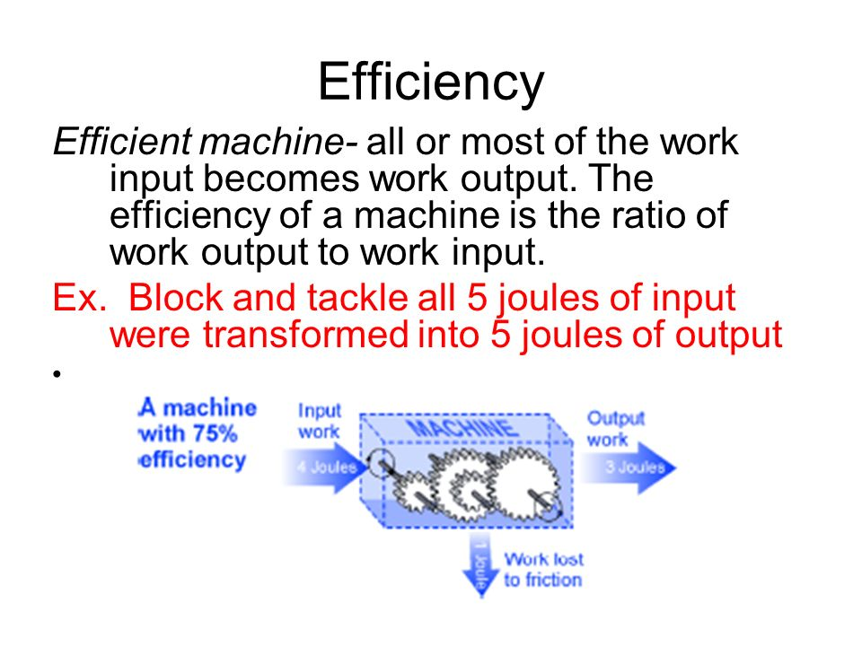Efficiency Efficient machine- all or most of the work input becomes work output. The efficiency of a machine is the ratio of work output to work input