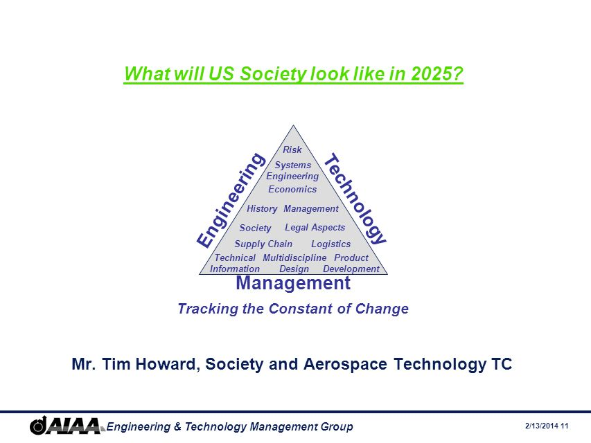 2/13/2014 11 Engineering & Technology Management Group What will US Society look like in 2025.