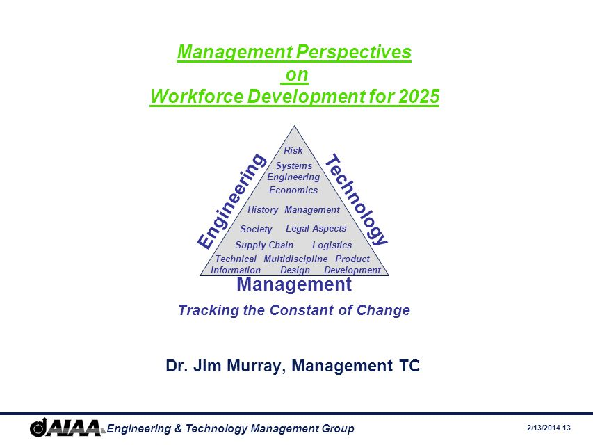 2/13/2014 13 Engineering & Technology Management Group Management Perspectives on Workforce Development for 2025 Dr.
