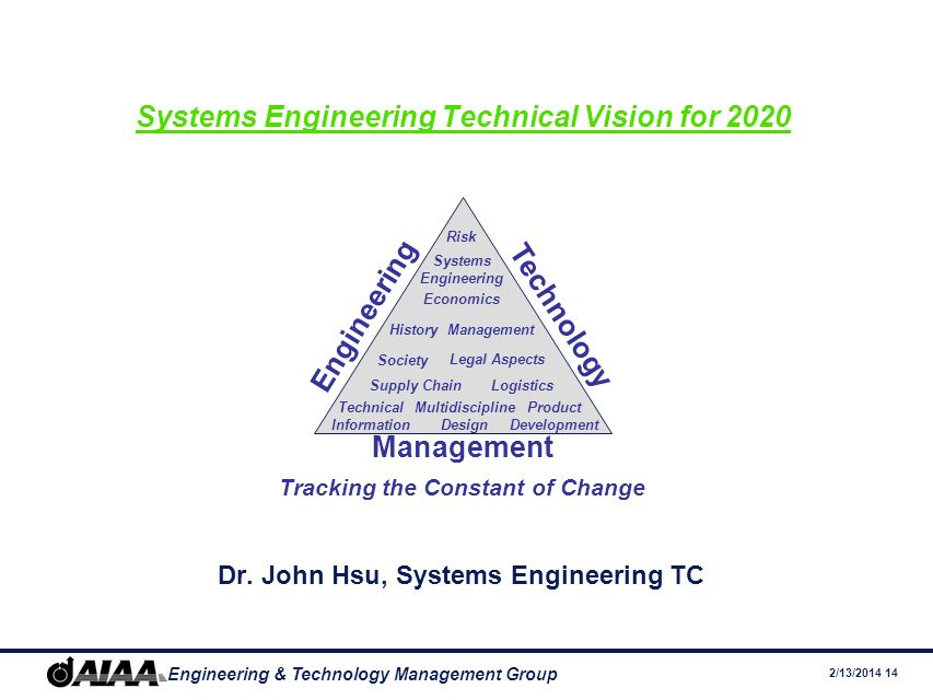 2/13/2014 14 Engineering & Technology Management Group Systems Engineering Technical Vision for 2020 Dr.