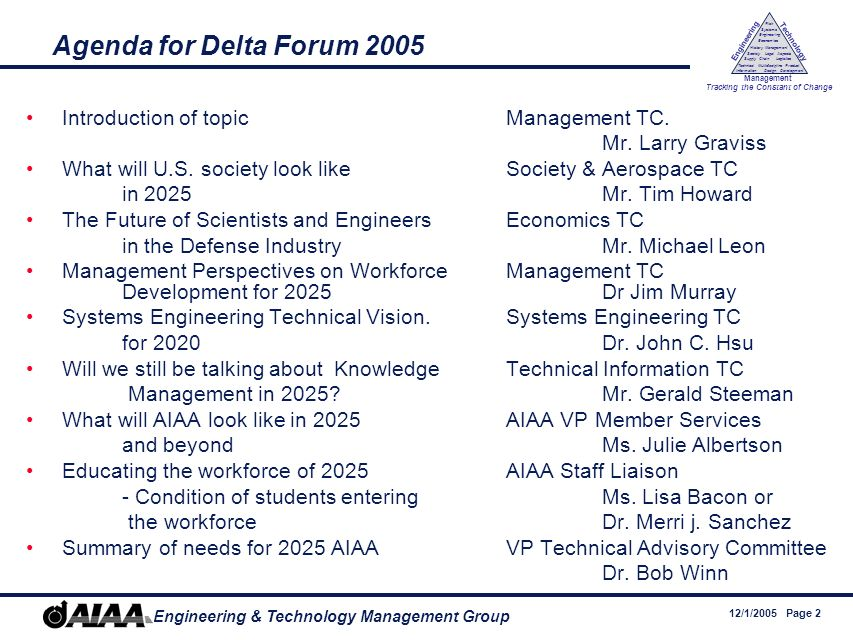 12/1/2005 Page 2 Engineering & Technology Management Group Engineering Technology Management Tracking the Constant of Change Management History Society Legal Aspects LogisticsSupply Chain Systems Engineering Economics Risk Technical Information Multidiscipline Design Product Development Agenda for Delta Forum 2005 Introduction of topicManagement TC.