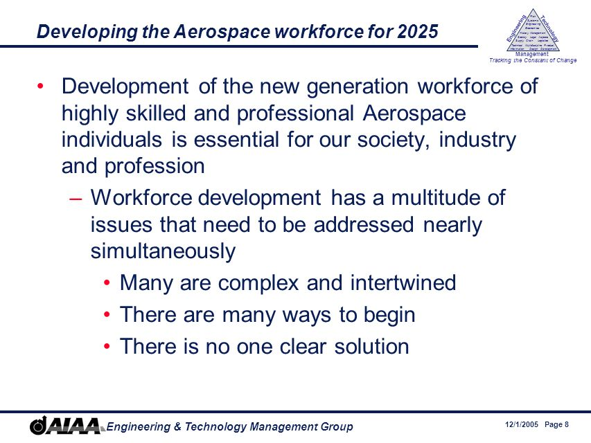 12/1/2005 Page 8 Engineering & Technology Management Group Engineering Technology Management Tracking the Constant of Change Management History Society Legal Aspects LogisticsSupply Chain Systems Engineering Economics Risk Technical Information Multidiscipline Design Product Development Developing the Aerospace workforce for 2025 Development of the new generation workforce of highly skilled and professional Aerospace individuals is essential for our society, industry and profession –Workforce development has a multitude of issues that need to be addressed nearly simultaneously Many are complex and intertwined There are many ways to begin There is no one clear solution