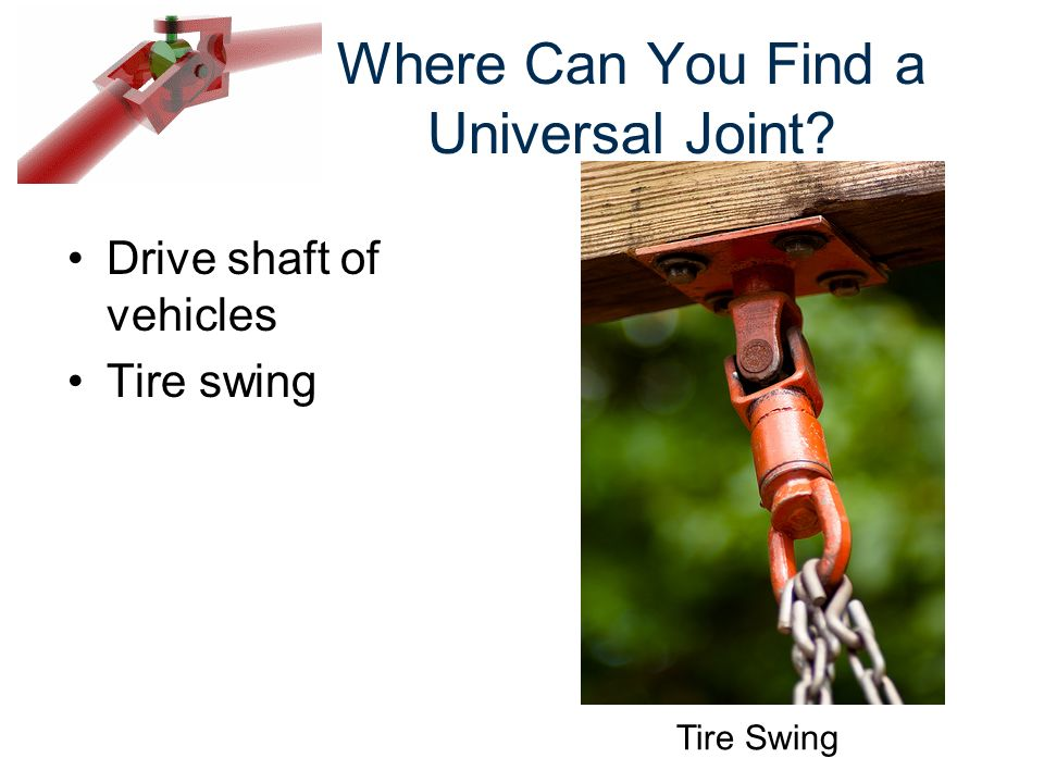 Where Can You Find a Universal Joint? Drive shaft of vehicles Tire swing Tire Swing
