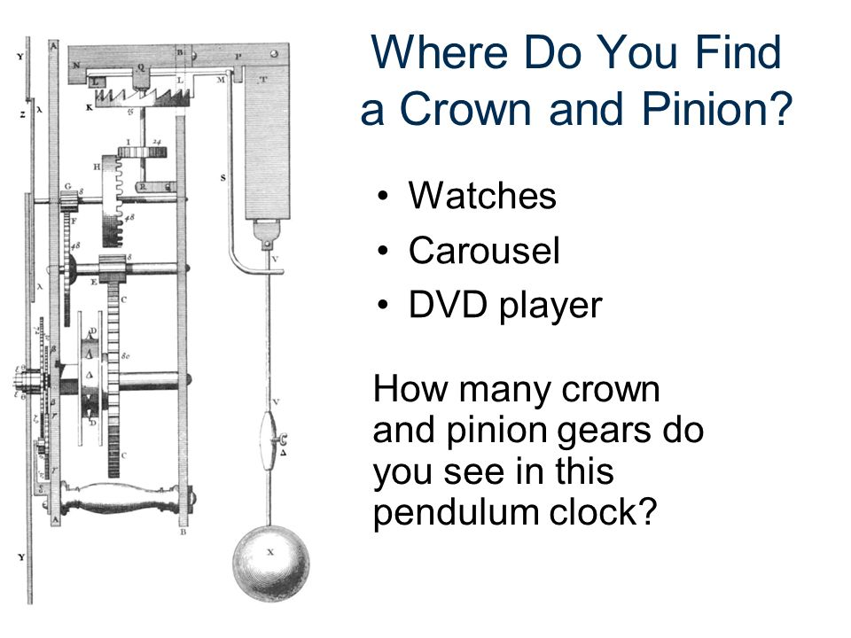 Where Do You Find a Crown and Pinion? Watches Carousel DVD player How many crown and pinion gears do you see in this pendulum clock?