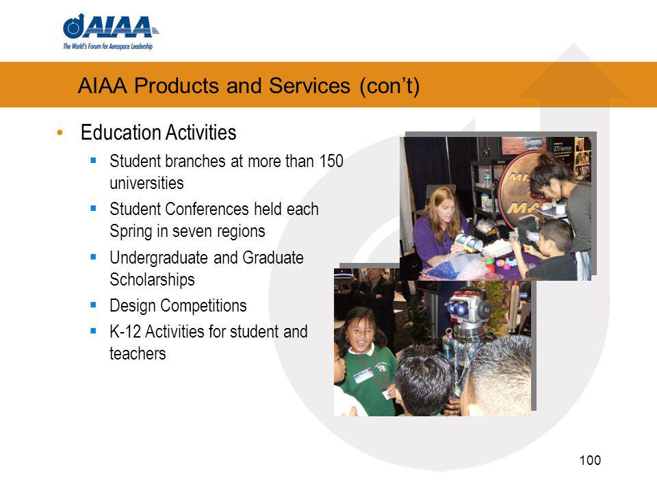 100 AIAA Products and Services (cont) Education Activities Student branches at more than 150 universities Student Conferences held each Spring in seven regions Undergraduate and Graduate Scholarships Design Competitions K-12 Activities for student and teachers