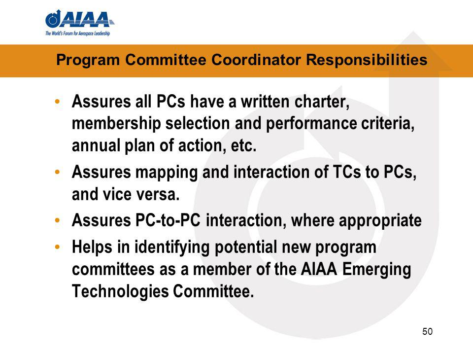 50 Program Committee Coordinator Responsibilities Assures all PCs have a written charter, membership selection and performance criteria, annual plan of action, etc.