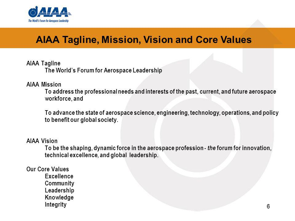 6 AIAA Tagline The Worlds Forum for Aerospace Leadership AIAA Mission To address the professional needs and interests of the past, current, and future aerospace workforce, and To advance the state of aerospace science, engineering, technology, operations, and policy to benefit our global society.