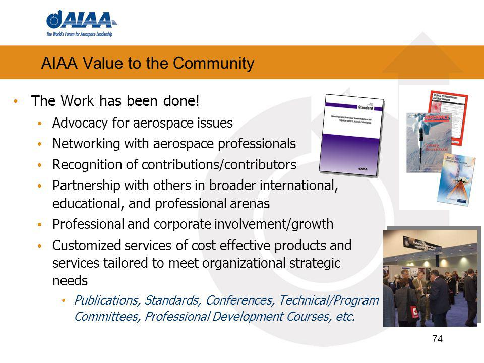 74 AIAA Value to the Community The Work has been done.