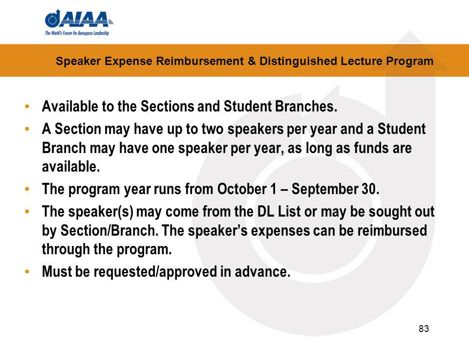 83 Speaker Expense Reimbursement & Distinguished Lecture Program Available to the Sections and Student Branches.