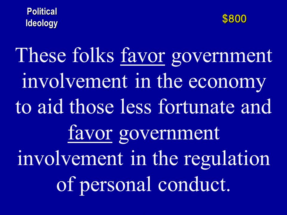 These folks oppose government involvement in the economy to aid those less fortunate and favor government involvement in the regulation of personal conduct.