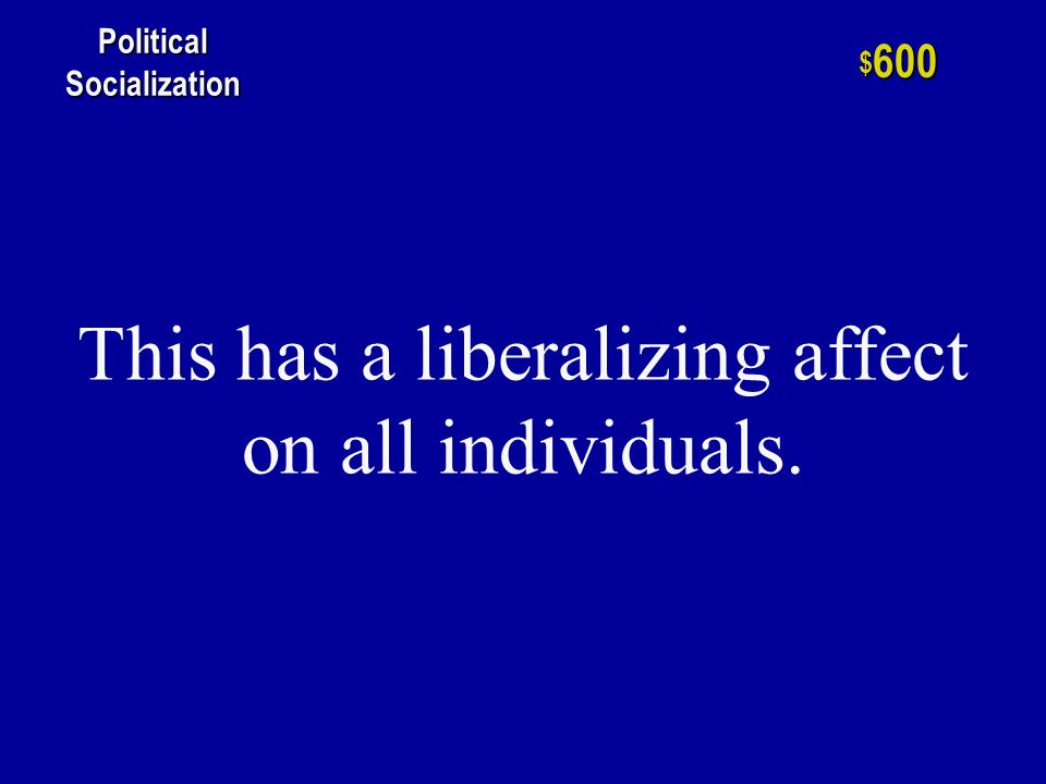h $ 400 Political Socialization The single most important factor in the political socialization process.