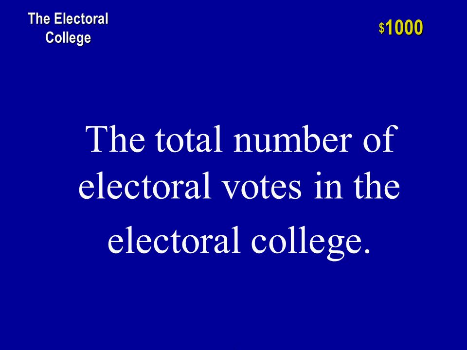 h $ 800 The Electoral College The month in which electors gather to cast their vote for president.