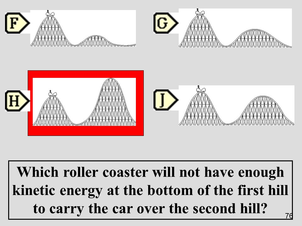 Which roller coaster will not have enough kinetic energy at the bottom of the first hill to carry the car over the second hill? 76