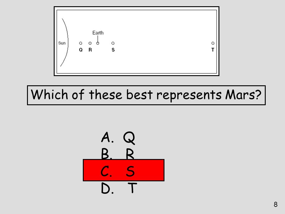 Which of these best represents Mars? A. Q B. R C. S D. T 8