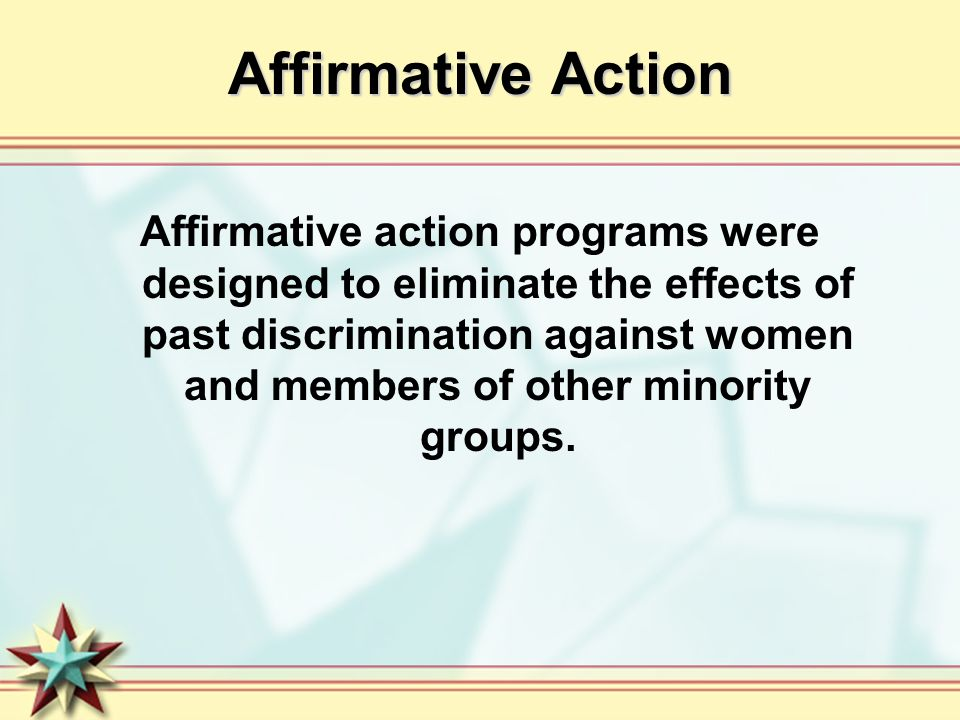 the affirmative action program essay Essay on affirmative action essay on affirmative action affirmative action is a policy or a program that seeks to redress past discrimination of minorities through active measures in order to ensure equalthe principle that all men are equal in rights and should be treated equally is the cornerstone of human rights theory, and is based on the.