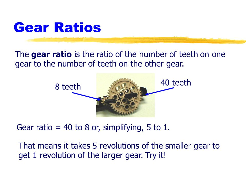 Robotics Academy 2002. All Rights Reserved. Gear Ratios The gear ratio is the ratio of the number of teeth on one gear to the number of teeth on the o