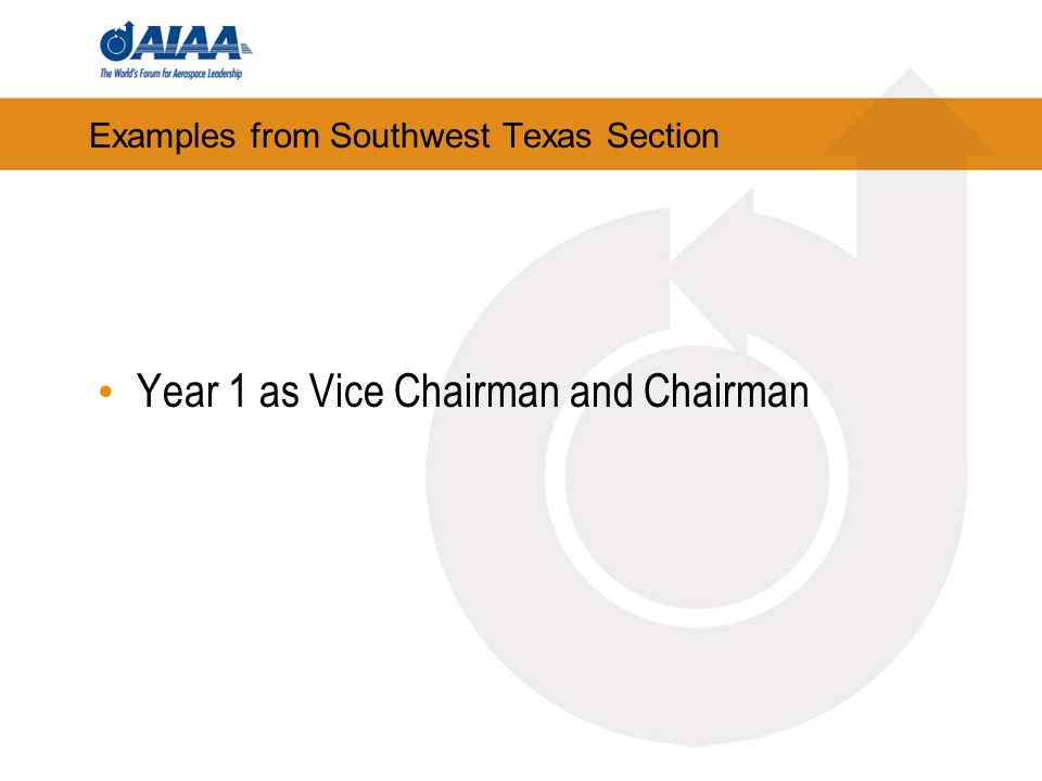 Examples from Southwest Texas Section Year 1 as Vice Chairman and Chairman