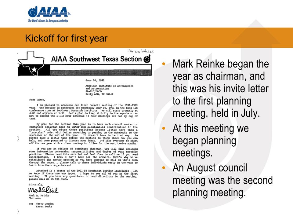 Kickoff for first year Mark Reinke began the year as chairman, and this was his invite letter to the first planning meeting, held in July.