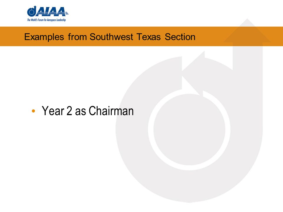 Examples from Southwest Texas Section Year 2 as Chairman