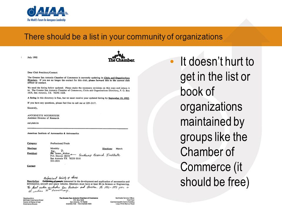 There should be a list in your community of organizations It doesnt hurt to get in the list or book of organizations maintained by groups like the Chamber of Commerce (it should be free)