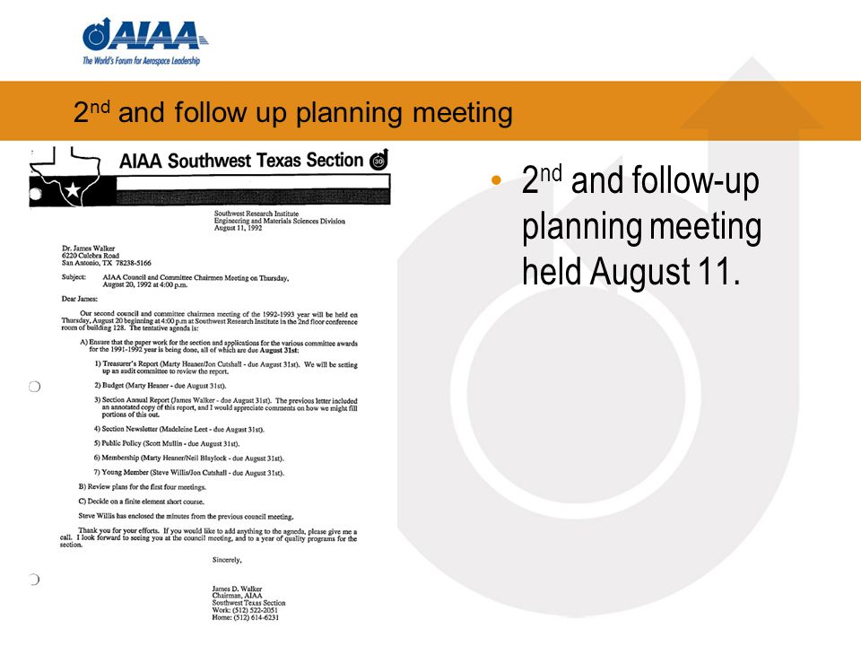 2 nd and follow up planning meeting 2 nd and follow-up planning meeting held August 11.