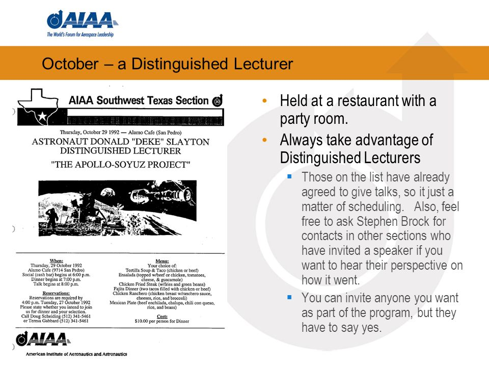 October – a Distinguished Lecturer Held at a restaurant with a party room.