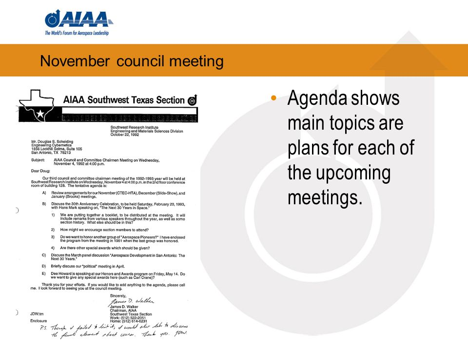 November council meeting Agenda shows main topics are plans for each of the upcoming meetings.