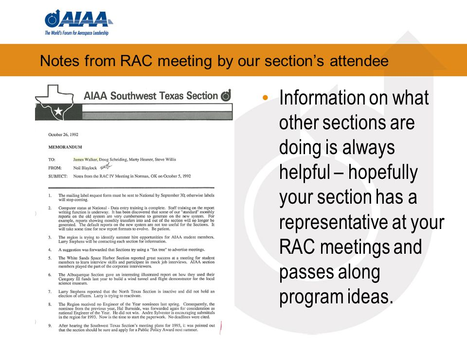 Notes from RAC meeting by our sections attendee Information on what other sections are doing is always helpful – hopefully your section has a representative at your RAC meetings and passes along program ideas.