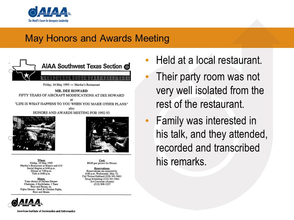 May Honors and Awards Meeting Held at a local restaurant.