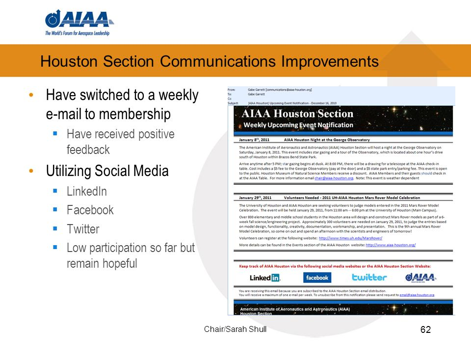 Houston Section Communications Improvements Have switched to a weekly e-mail to membership Have received positive feedback Utilizing Social Media LinkedIn Facebook Twitter Low participation so far but remain hopeful 62 Chair/Sarah Shull