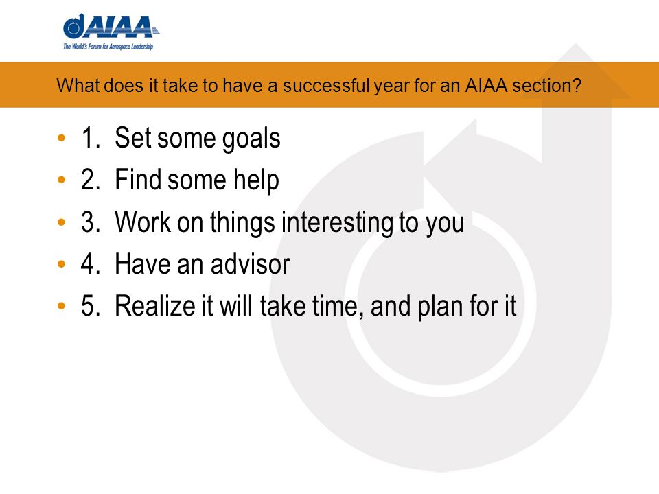 What does it take to have a successful year for an AIAA section.