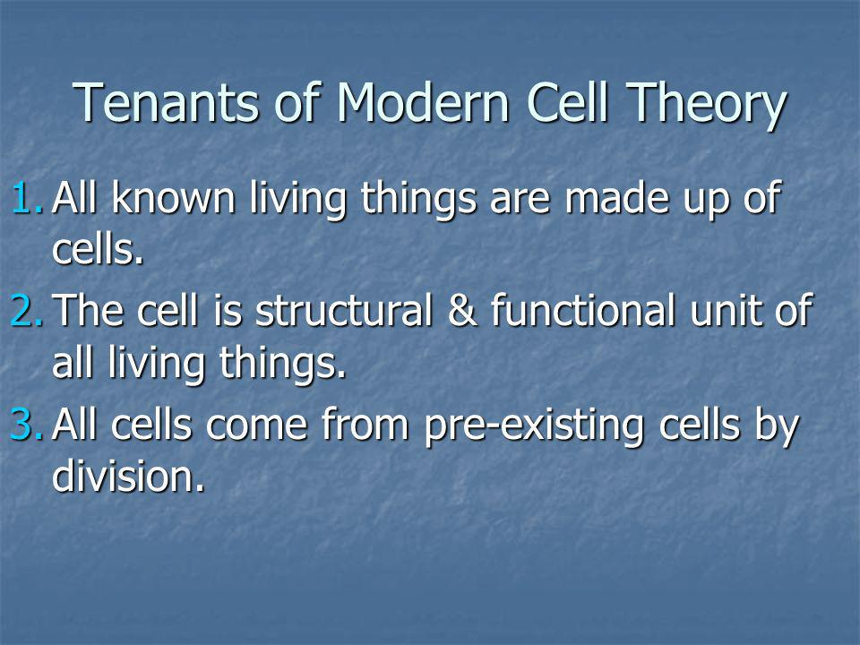 Tenants of Modern Cell Theory 1.All known living things are made up of cells. 2.The cell is structural & functional unit of all living things. 3.All c