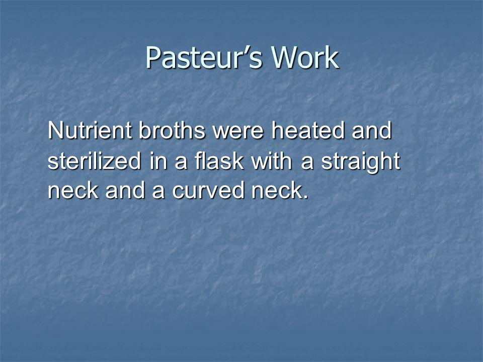 Pasteurs Work Nutrient broths were heated and sterilized in a flask with a straight neck and a curved neck.