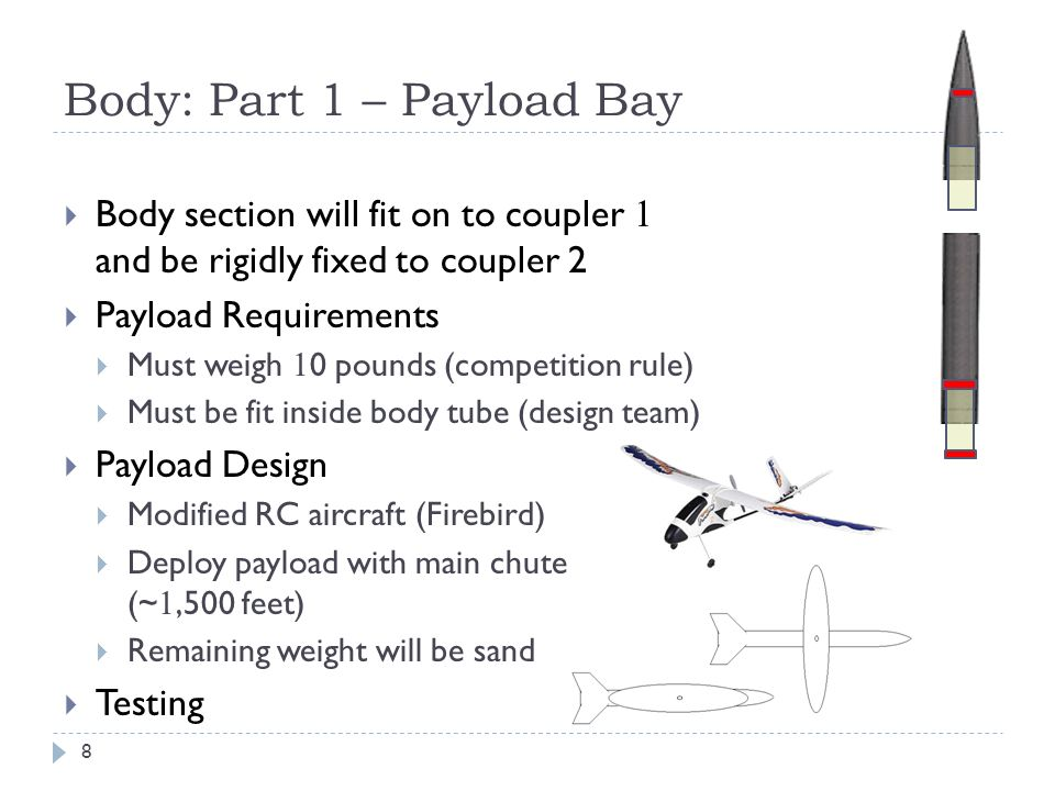 Body: Part 1 – Payload Bay Body section will fit on to coupler 1 and be rigidly fixed to coupler 2 Payload Requirements Must weigh 1 0 pounds (competi