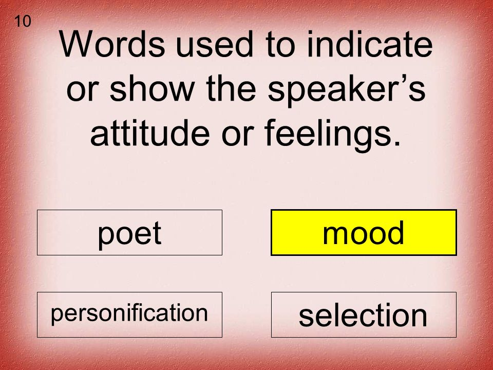 Words used to indicate or show the speakers attitude or feelings.