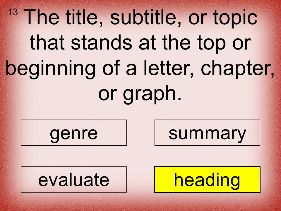 The title, subtitle, or topic that stands at the top or beginning of a letter, chapter, or graph.