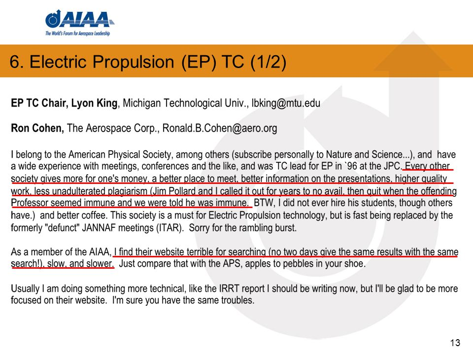 6. Electric Propulsion (EP) TC (1/2) 13