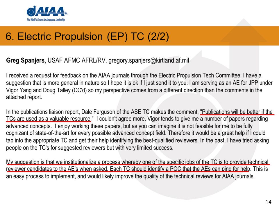 6. Electric Propulsion (EP) TC (2/2) 14