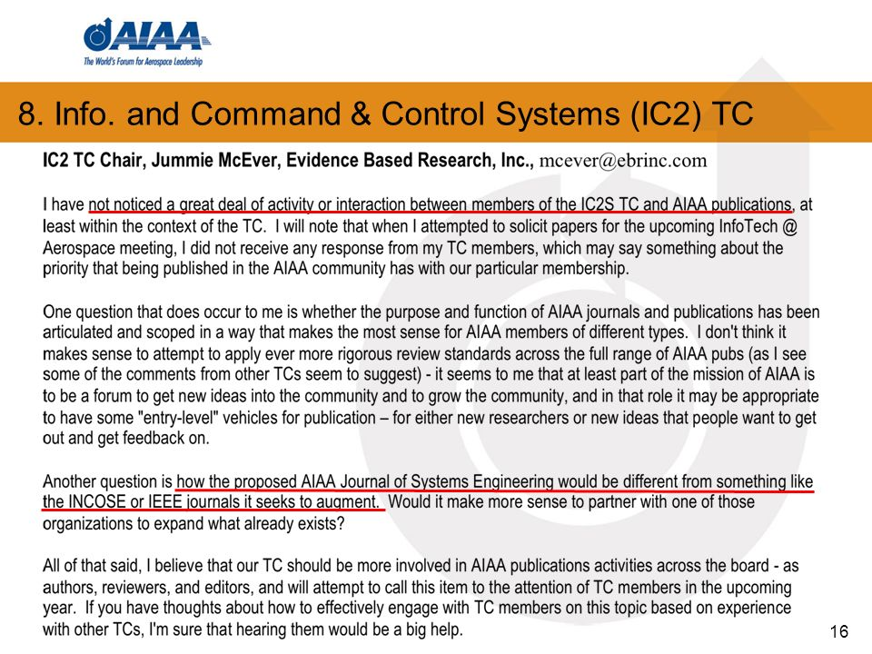 8. Info. and Command & Control Systems (IC2) TC 16