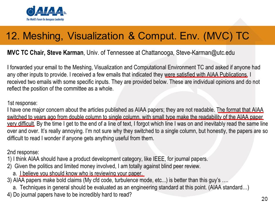 12. Meshing, Visualization & Comput. Env. (MVC) TC 20