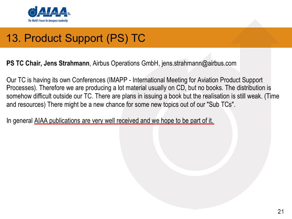 13. Product Support (PS) TC 21