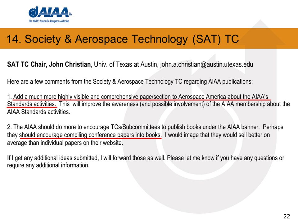 14. Society & Aerospace Technology (SAT) TC 22