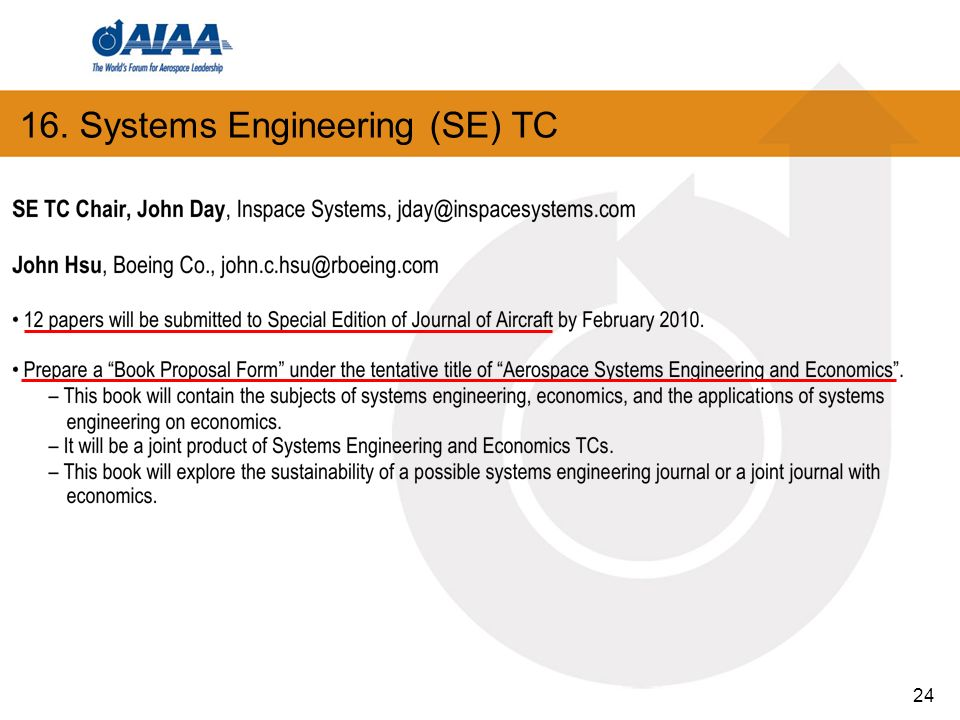 16. Systems Engineering (SE) TC 24