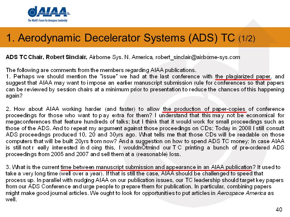 40 1. Aerodynamic Decelerator Systems (ADS) TC (1/2)