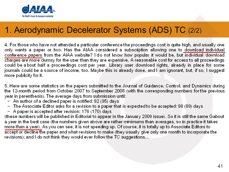 41 1. Aerodynamic Decelerator Systems (ADS) TC (2/2)