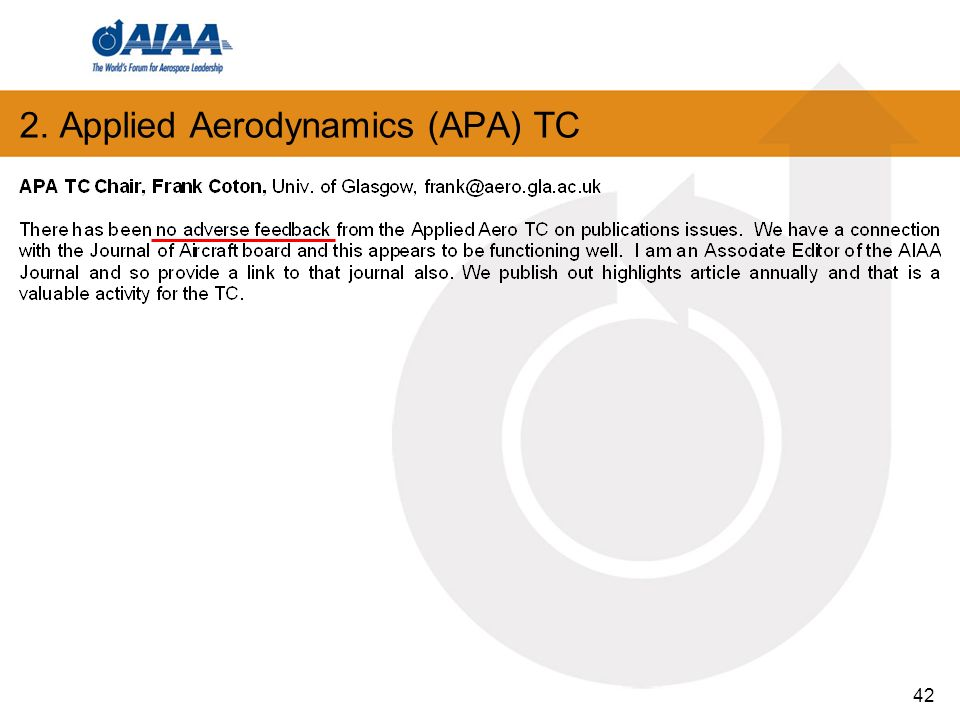 42 2. Applied Aerodynamics (APA) TC
