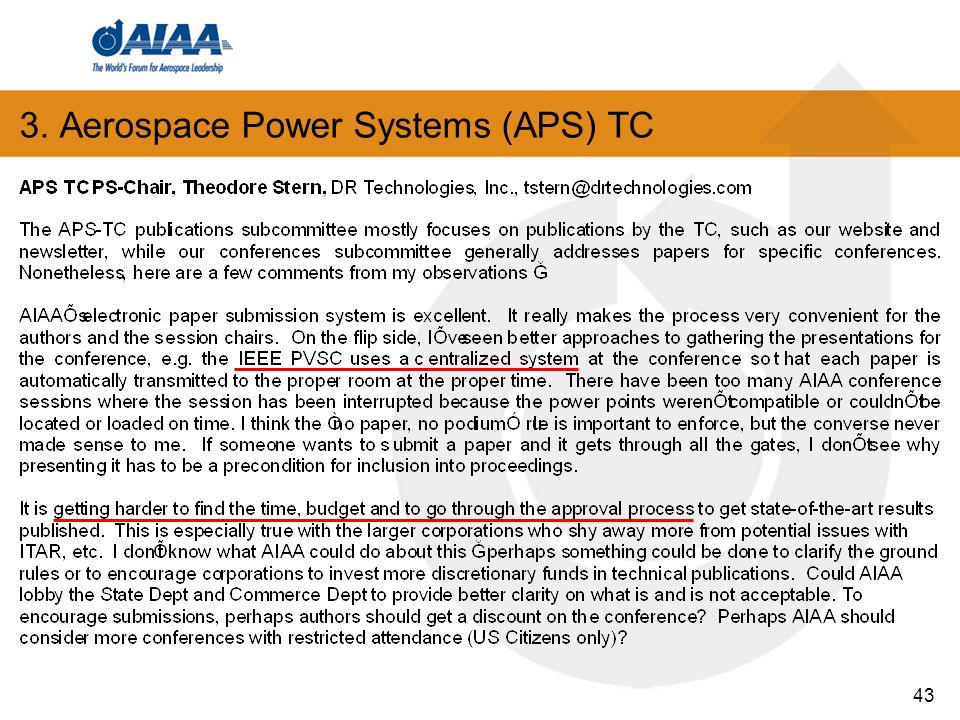 43 3. Aerospace Power Systems (APS) TC